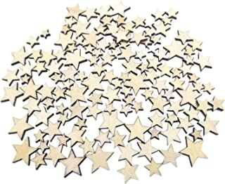 Kalevel 100pcs Wood Star Mixed Size Natural Unfinished Wooden Star Cutouts Blank Wooden Crafts Pieces DIY Rustic Home Decorations for Party Table