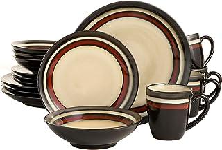 Gibson Elite Lewisville Round Reactive Glaze Stoneware Dinnerware Set, Service for 4 (16pcs), Cream/Red
