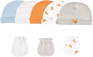 Baby Girls' 5-Pack Cap and 3-Pack Scratch Mitten Set