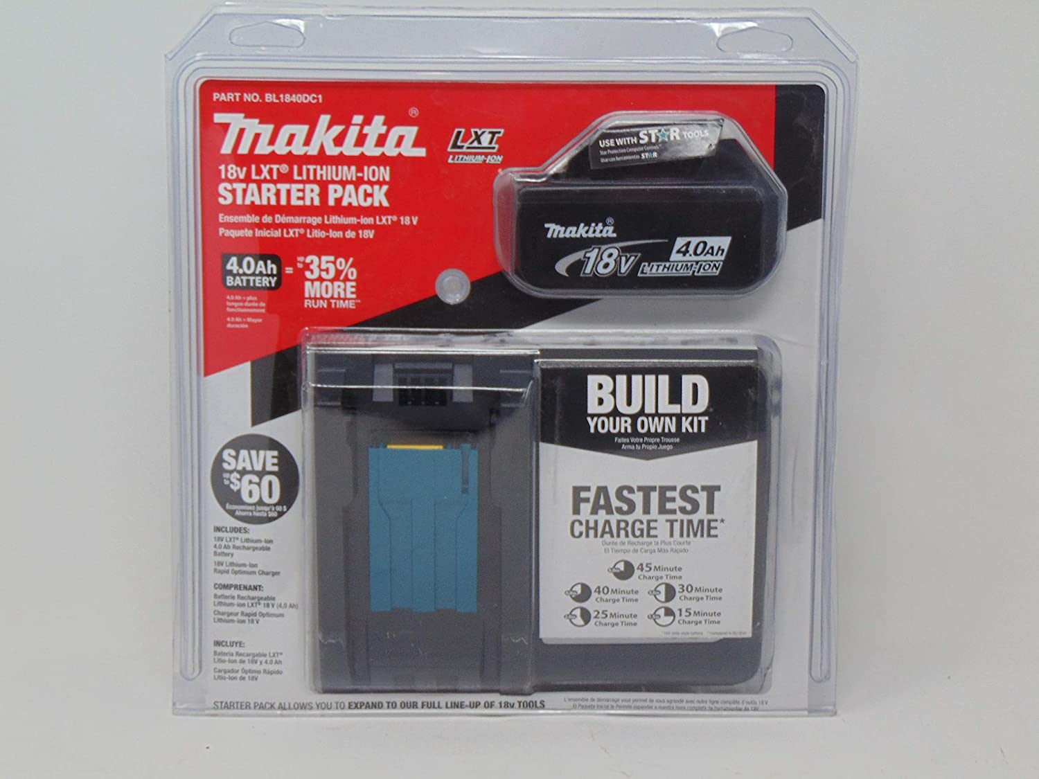 Makita BL1840DC1 Fort Worth Mall 18V LXT Lithium-Ion Branded goods Starter Charger and Battery