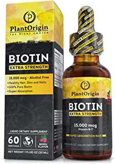 Extra-Strength 15000mcg Biotin Liquid Vitamin Drops - Supports Hair Growth, Glowing Skin & Strong Nails , Alcohol-Free & K...