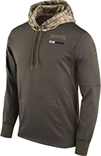 Men's Philadelphia Eagles Olive Salute to Service Sideline Therma Pullover Hoodie