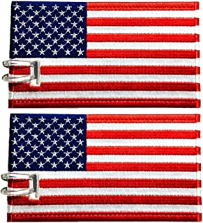 Luggage Tags, USA Flag, Embroidered, 2 Pack, 12 COLORS, NEVER BREAK!