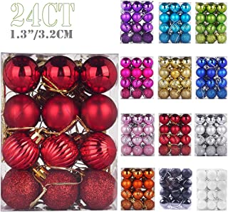 Emopeak 24Pcs Christmas Balls Ornaments for Xmas Christmas Tree - 4 Style Shatterproof Christmas Tree Decorations Hanging Ball for Holiday Wedding Party Decoration