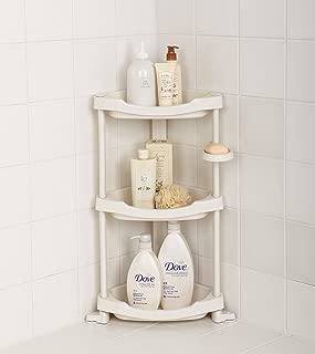 Tenby Living Corner Shower Caddy - 3 Shelf Shower Organizer Caddie with Movab.