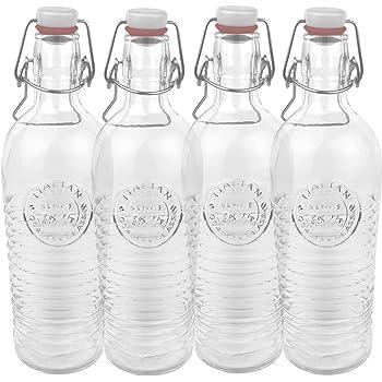 Bormioli set di 4 bottiglie di vetro/contenitori Officina 1825 - Con rilievo e nervature - Qualità italiana - Ideale per la conservazione, la fermentazione, la fermentazione, la decorazione