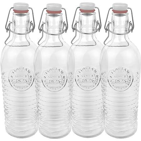 Bormioli Officina 1825 Lot de 4 bouteilles en verre Avec relief et stries Qualité italienne Idéal pour confire, fermenter, décorer, préparer des boissons