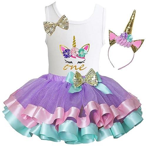 e84ea419a53 Kirei Sui Girls Lavender Pastel Satin Trimmed Tutu   Birthday Unicorn Tee