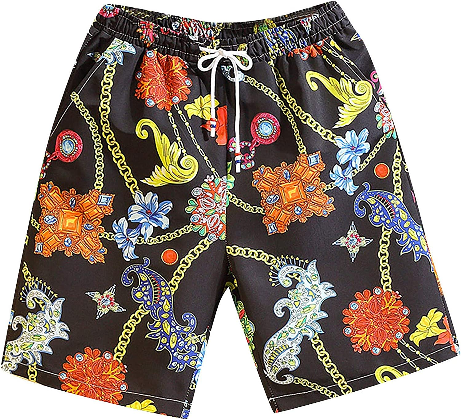 ZCAITIANYA Men's Summer Beach Shorts Printed Casual Drawstring Fitted Elastic Waist with Pockets