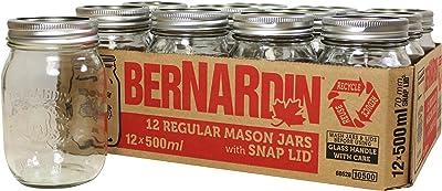 Bernardin Regular Mouth 500ml Mason Jars-Box of 12, 500ml, Clear