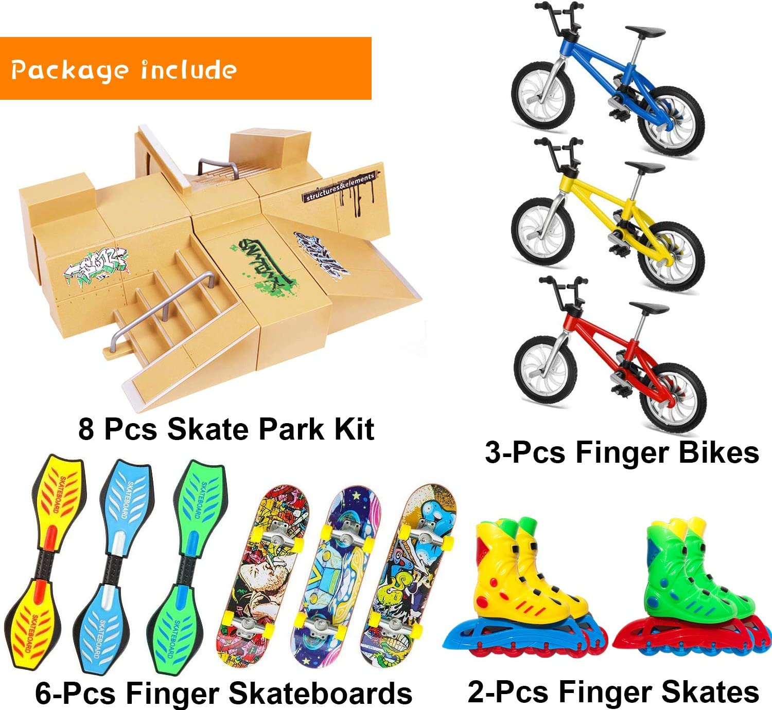 with Interesting Accessories Experience More Gameplay and Happiness for Kids Ramp Parts for Fingerboard Skate Park Ultimate Parks Training Props Aestheticism Skate Park Kit