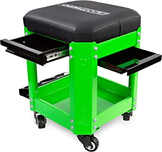 OEMTOOLS Green/Black 24993 Rolling Workshop Creeper 2 Tool Drawers, Parts Storage, Can Holders | Handy Mechanic's Seat is The Ultimate Garage Accessory | Work in Comfort