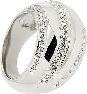 牛仔裤 pierre 女式戒指镀铑黄铜和白色玻璃圆形切割 hejr 971–1
