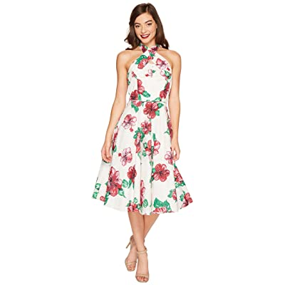 Unique Vintage Halter Flora Swing Dress (Cream/Hibiscus) Women