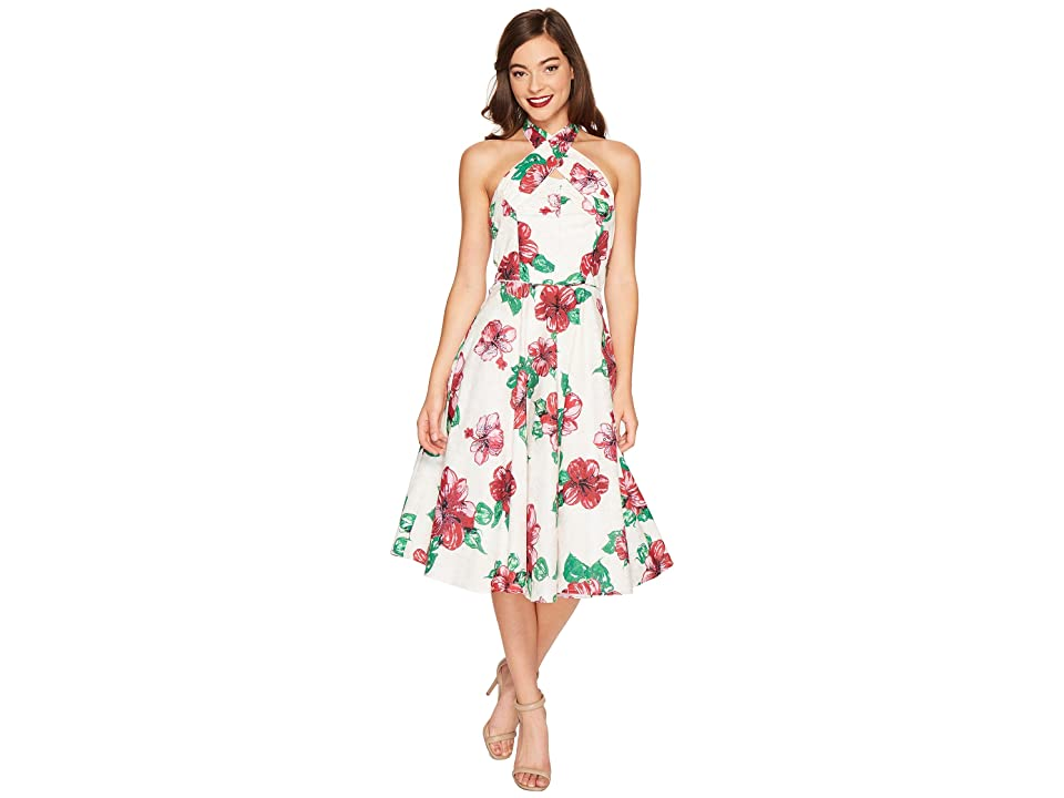 Unique Vintage Halter Flora Swing Dress (Cream/Hibiscus) Women