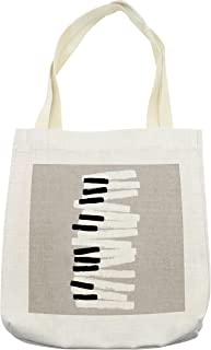 Lunarable Piano Tote Bag, Doodle Style Keyboard Pattern Abstract Contemporary Design Classical Music, Cloth Linen Reusable Bag for Shopping Groceries Books Beach Travel & More, Cream