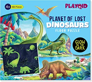 PLAYQID Planet of Lost Dinosaurs Glow in the Dark Jigsaw Floor Puzzle 48 Piece Puzzle that glows in dark for kids age 4 an...