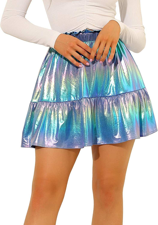 San Diego Mall Allegra Max 59% OFF K Women's Metallic Mini Skirt High Shiny Waist A- Ruffle