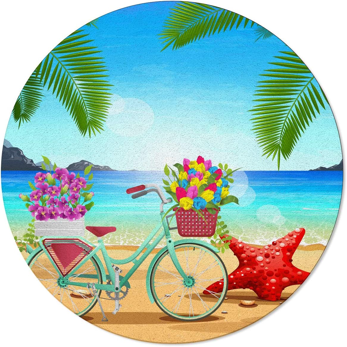 ARTSHOWING Summer Tropical Round Max 45% Limited price OFF Area Non-Shedding Rugs 6Ft Dur
