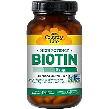 Country Life Biotin High Potency 5 mg - 120 Vegan Capsules