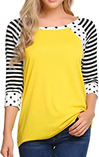 Women's Striped Polka Dot Print 3/4 Sleeve Raglan Shirt Patchwork Scoop Neck T-Shirt S-XXL