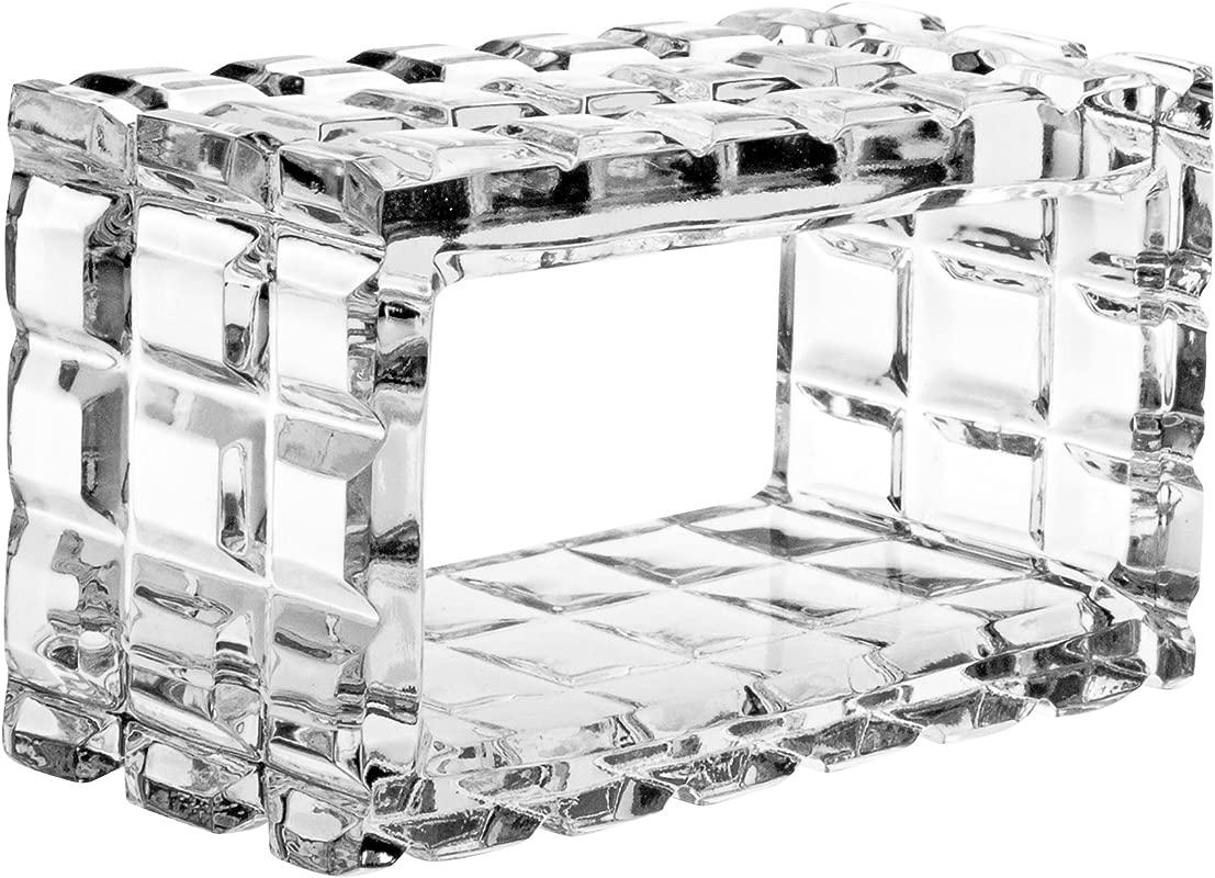 Barski Cut Crystal Napkin Ring Holder Rectangle Shape 2 6 L Made In Europe Set Of 4
