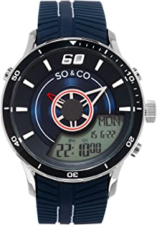 So & Co New York Monticello Men's Quartz Watch With Blue Dial Analogue - Digital Display and Navy Rubber Strap 5035.2