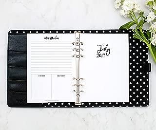 July 2019- June 2020 Monthly Calendar for A5 Planners, fits Filofax, Kikki K, Carpe Diem Planners, 6 Ring binder, 5.8