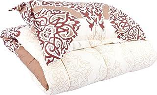 Flower Comforter Single 4Pcs Set,160x220cm, Creanm and Brown