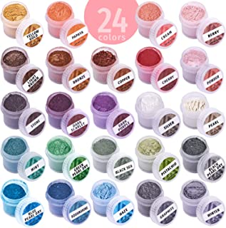 Mica Powder Coloring Pigments - 24 Jars Mica Powder Set - Lip Gloss Pigment - Resin Dying Pigment - Epoxy Resin Dye - Mica...