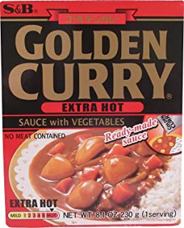 S&B Golden Curry Sauce with Vegtables, Extra Hot, 8.1-Ounce Boxes 1 Pack