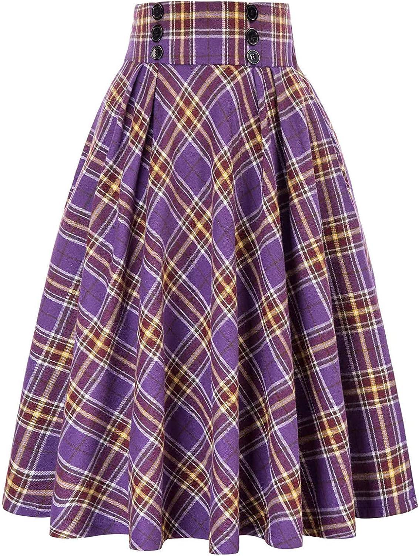 NIDOV Women's Plaid Skirt Vintage Elegant High Waist Pleated Skirt with Pockets