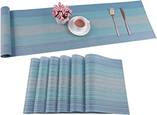 Pauwer Placemats with Table Runner Set Washable Heat Resistant Woven Vinyl Placemats Set of 6 and Runner for Dining Table ...
