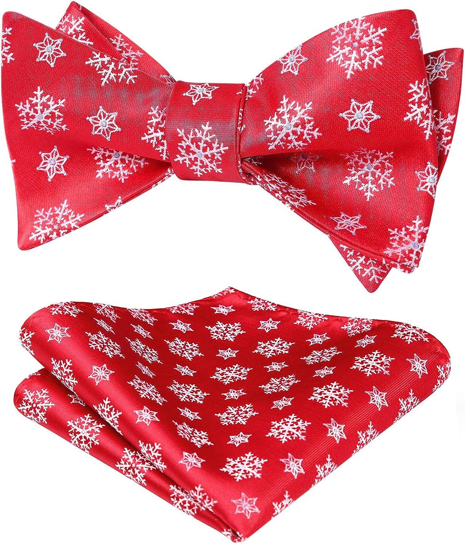 HISDERN Men's Christmas Woven Party Festival Theme Self-tied Bowtie Pocket Square Set