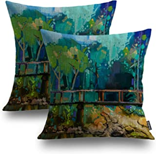 Shrahala Colorful Summer Decorative Pillow Covers, Blue Artist Oil Painting Landscape Colorful Summer Forest Decorative Li...