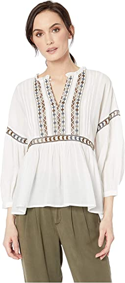 7ab7d8d4a6f White Multi. 14. Lucky Brand. Embroidered Peasant Top