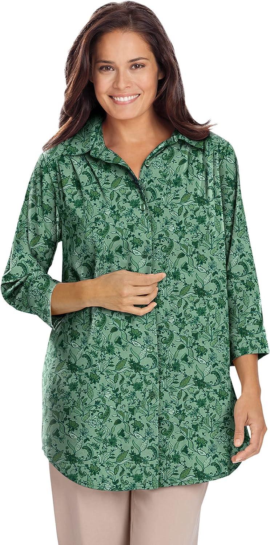 Woman Within Women's Plus Size Cuffed Sleeve Peachskin Button Down Shirt