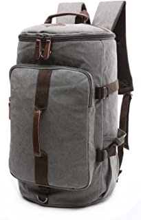Canvas Weekender Travel Duffel Backpack Hybrid Hiking Rucksack Laptop Backpack for Outdoor Sports Gym HB-26(Grey)
