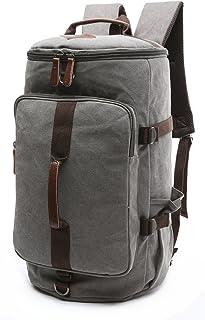Canvas Weekender Travel Duffel Backpack Hybrid Hiking Rucksack Laptop Backpack for Outdoor Sports Gym HB-26(Grey)