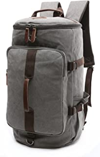 BAOSHA HB-26 Canvas Men Weekend Travel Duffel Bag Backpack Hiking Rucksack(Grey)