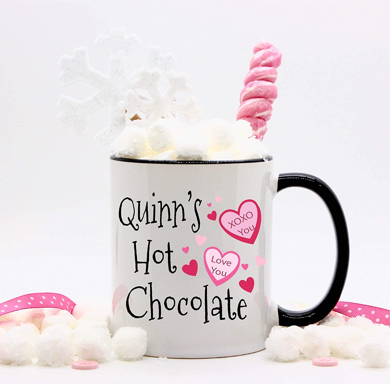 Personalized Candy Omaha Mall Hearts Valentine's Day Mugs Regular dealer Chocolate Hot for