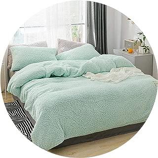 Winter Bedding Set Soft Warm Lamb Cashmere Duvet Cover Solid Fleece Flat Sheet Pillowcase Bed Cover Full Beddingg,02,Pillow Case (2Pcs)