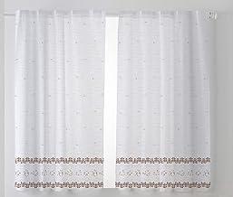 Cardenal Textile Tamara Curtain Kitchen Curtain, Brown, Pack of 2 100 x 140 cm