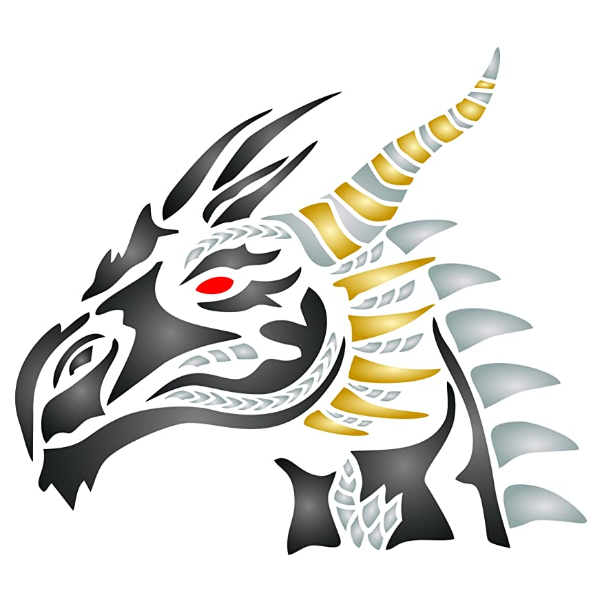 Dragons Head Stencil - 10 x 9.5 inch (L) - Reusable Asian Oriental Chinese Japanese Wall Stencil Template - Use on Paper Projects Scrapbook Journal Walls Floors Fabric Furniture Glass Wood etc.