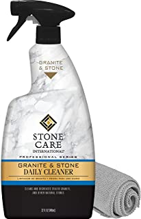 Stone Care International Granite Cleaner - Granite Quartz Tile Travertine Limestone Slate Clean (Bundle with Microfiber Cloth)
