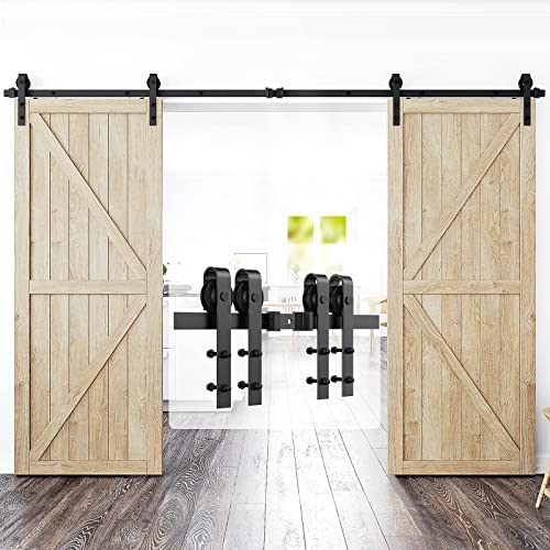 """high quality Homlux 12ft Heavy Duty Sturdy Sliding Barn Door Hardware online Kit Double Door - Smoothly and Quietly - Simple and Easy to Install - lowest Fit 1 3/8-1 3/4"""" Thickness Door Panel(Black)(J Shape Hangers) outlet sale"""