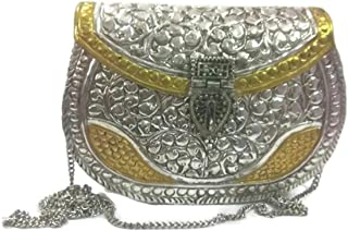 Trend Overseas Indian Ethnic Sling bag women party clutch White Metal Vintage Handmade Brass metal purse Antique Hand clutch