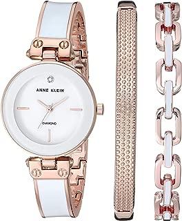 Anne Klein Women's Genuine Diamond Dial Watch and Bracelet Set, AK/3346