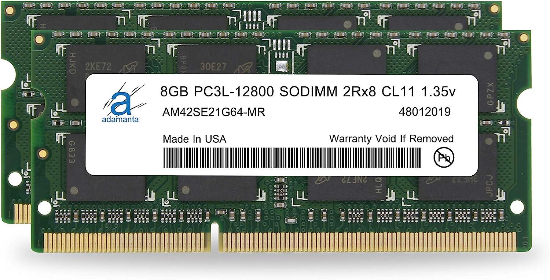 Adamanta 16GB (2x8GB) Laptop Memory Upgrade for Dell Inspiron 17 5000 Series 5758 DDR3L 1600Mhz PC3L-12800 SODIMM 2Rx8 CL11 1.35v Notebook RAM DRAM