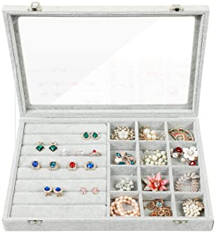 STYLIFING Clear Lid Velvet 24 Grid Jewelry Tray Stackable Display Showcase Lockable Organizer Box for Girls Women ¡